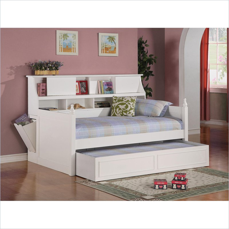 Picture of: White Twin Bed With Trundle And Storage