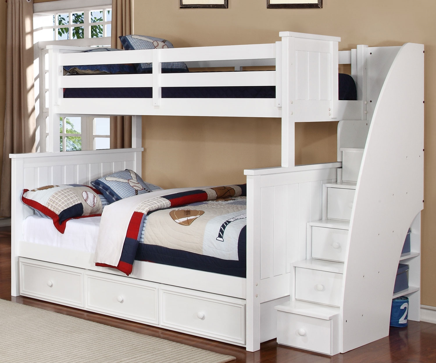Image of: White Twin Bunk Beds Stairs