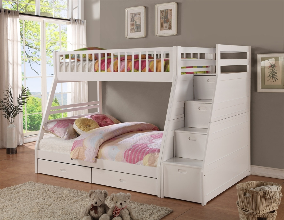 Image of: White Twin over Twin Bunk Beds with Storage