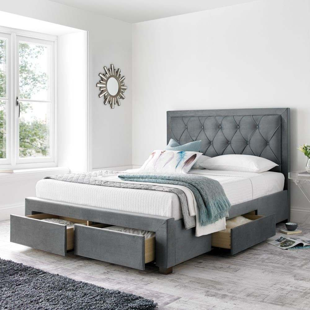 Picture of: Wood Grey Storage Bed