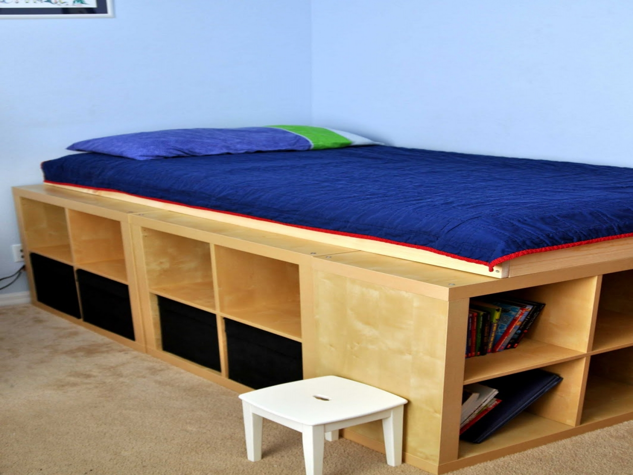 Image of: Wood Ikea Hack Storage Bed