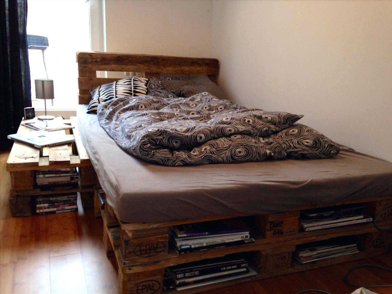 Wood Pallet Bed Frame With Storage Free Plans