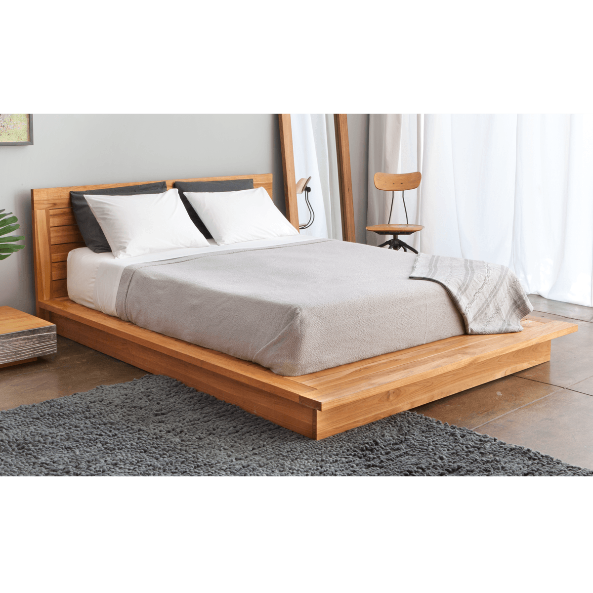 Wood Platform Bed With Storage Teak