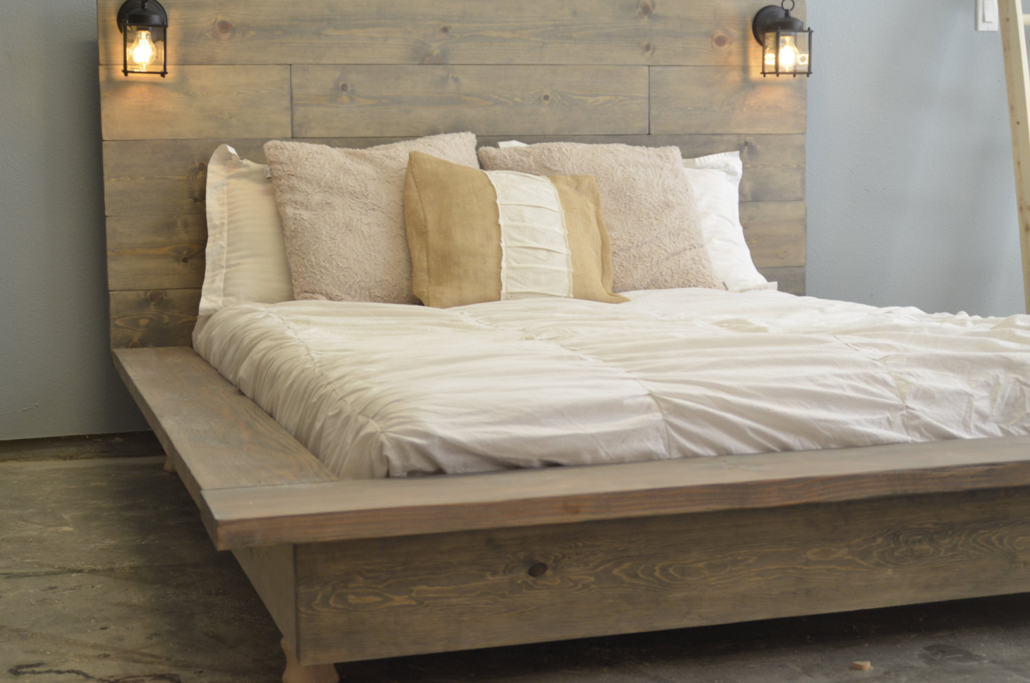 Picture of: Wood Platform Bed With Storage and Lamps