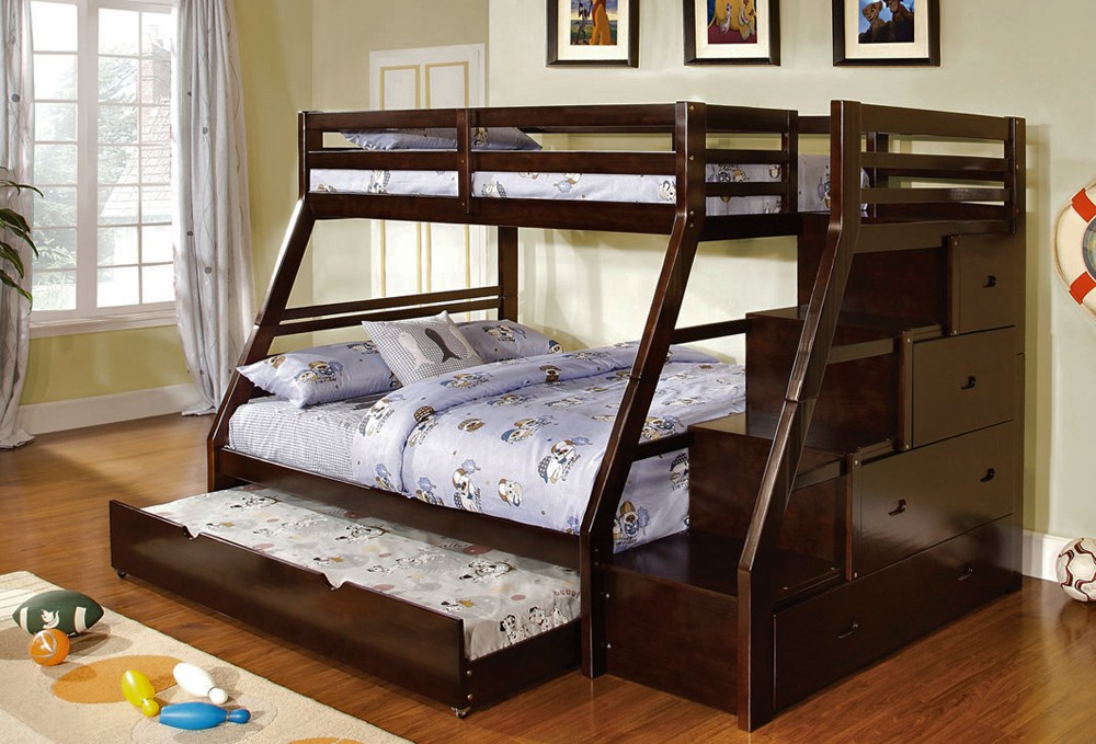 Picture of: Wood Twin over Full Bunk Bed with Storage