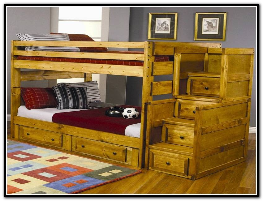 Wooden Bunk Bed with Storage Stairs