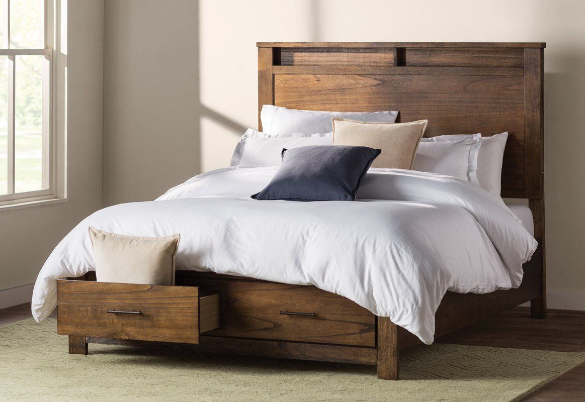 Wooden Platform Storage Bed Queen
