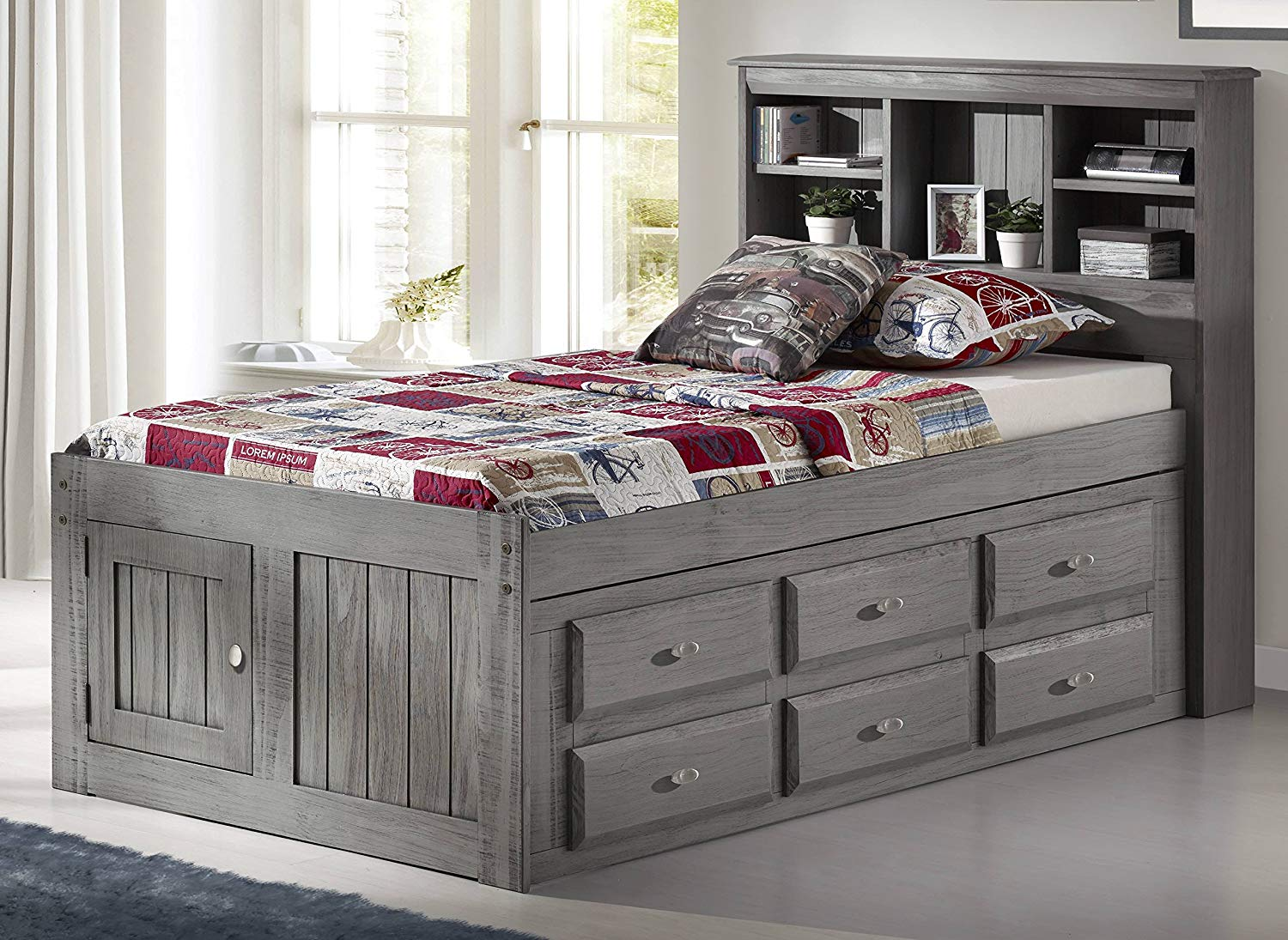 12 Drawer Storage Gray Bed