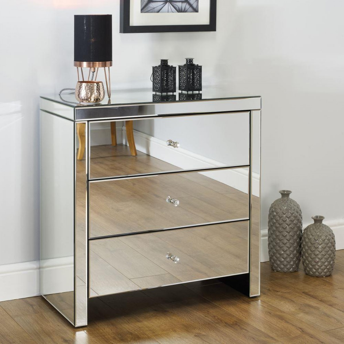 Picture of: 3 Drawer Chest Silver