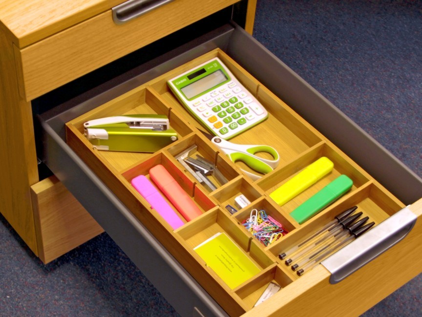 Picture of: Adjustable Bamboo Flatware Organizer Drawer