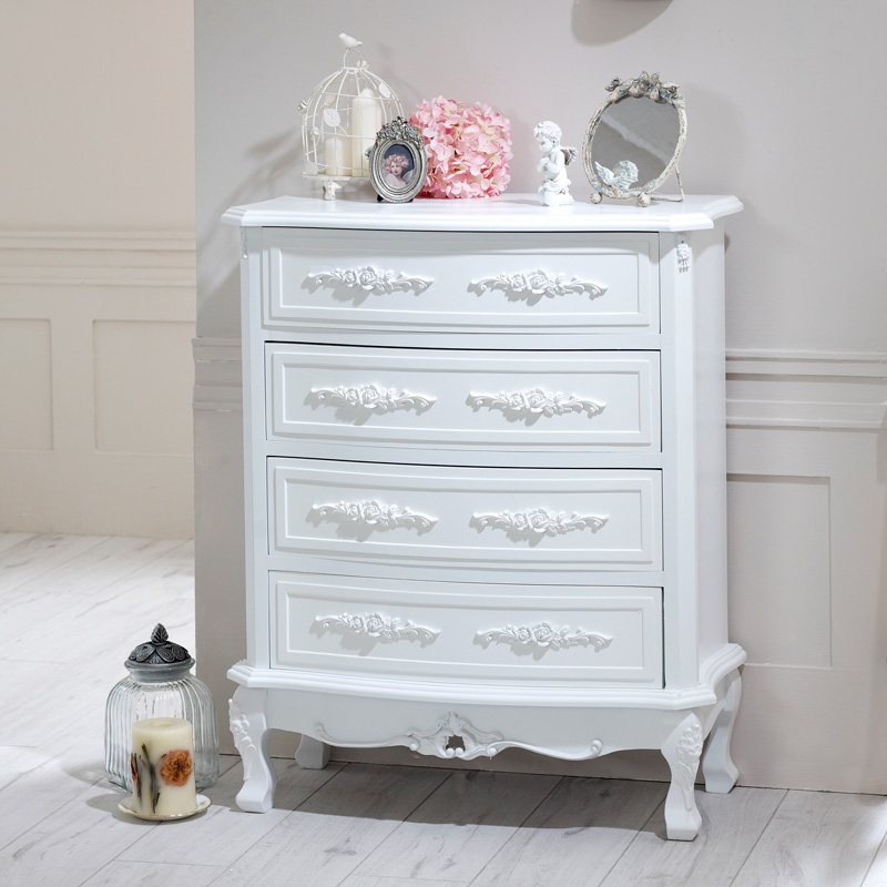 Image of: Antique White Drawer Chest