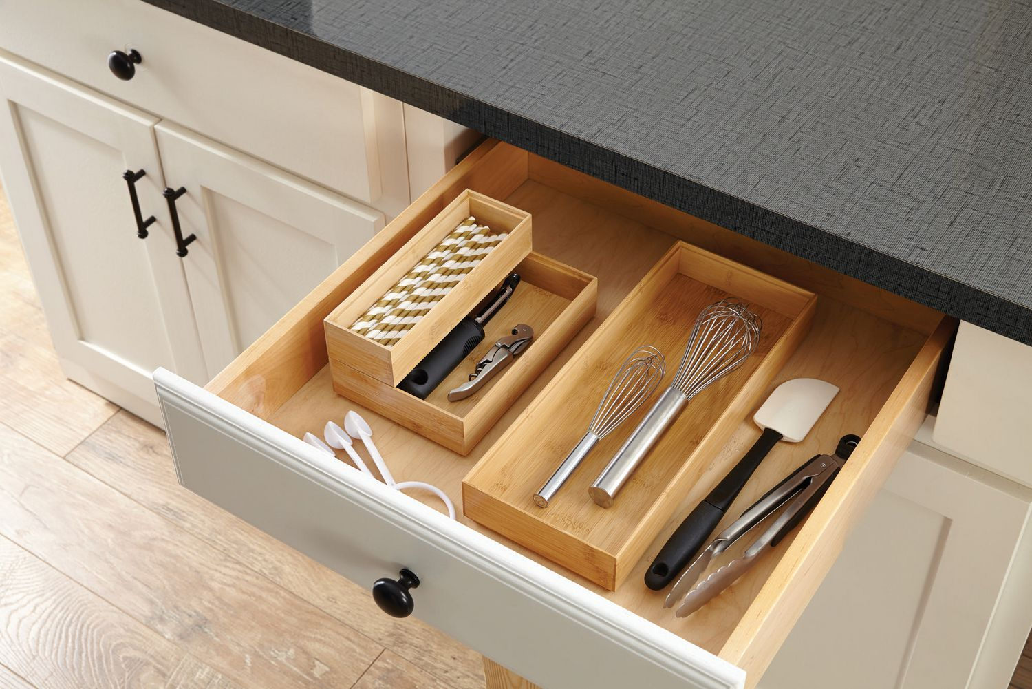 Image of: Bamboo Stackable Drawer Organizer