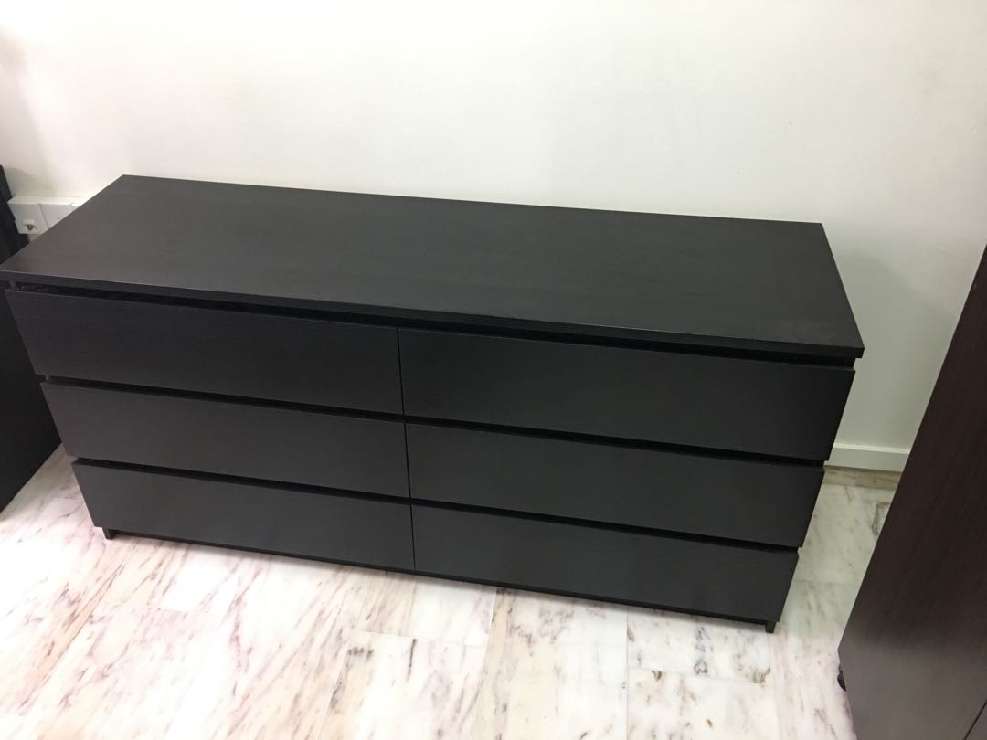 Picture of: Black Malm 6 Drawer Chest