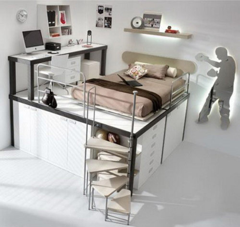 Image of: Bunk Bed with Desk Drawers