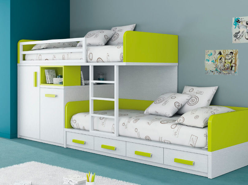 Bunk Beds with 6 Drawer