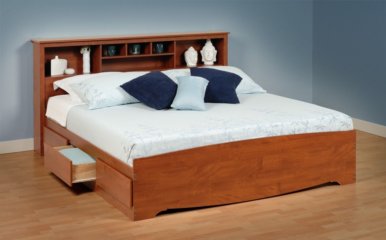 Cherry King Size Bed With Drawers