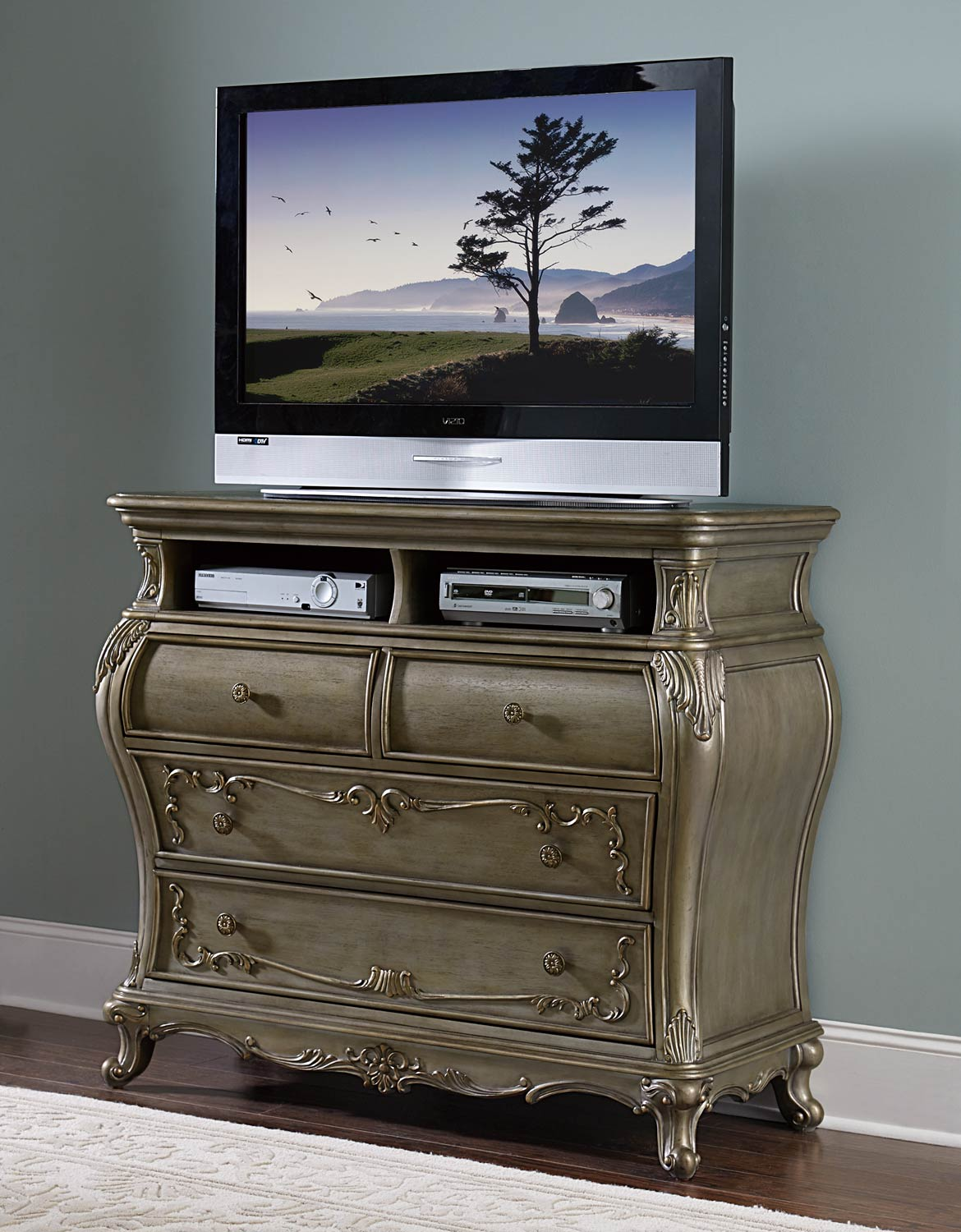 Image of: Chest Gold Tv Stands