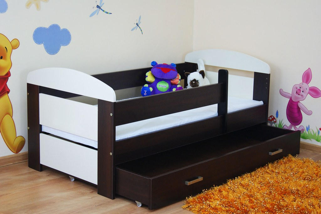 Picture of: Cream And Dark Walnut Toddler Bed Drawers