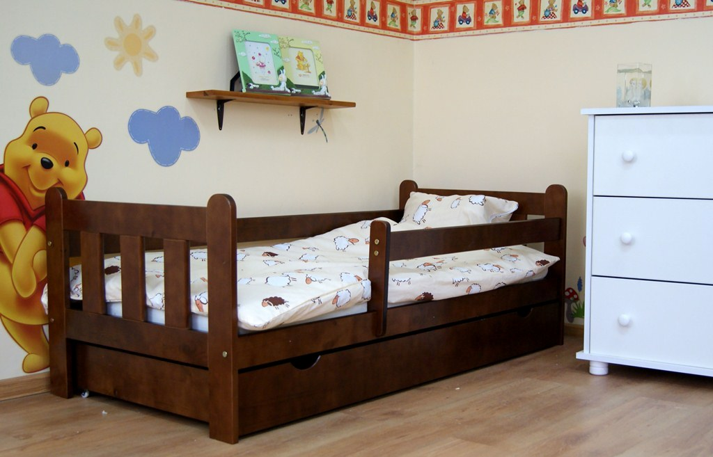 Picture of: Dark Wood Toddler Bed With Drawers Storage