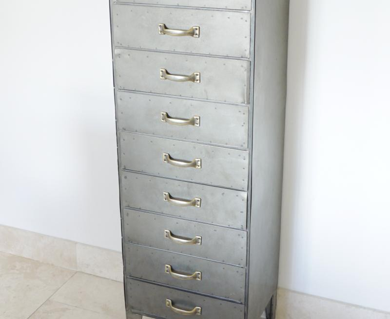 Image of: Drawer Chest Tall Industrial Metal Cabinet