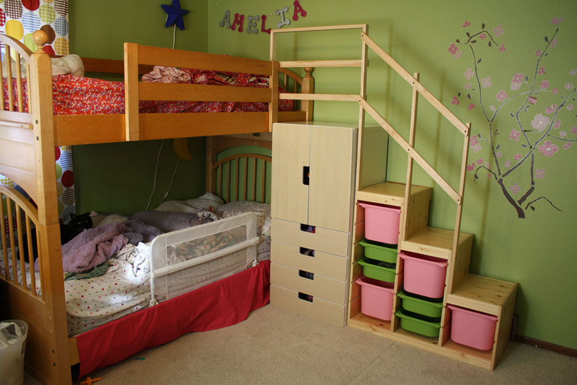 Picture of: Easy Full Height Loft Bed Stairs Drawers