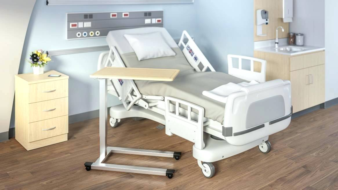Hospital Bed Tray Table on Wheel