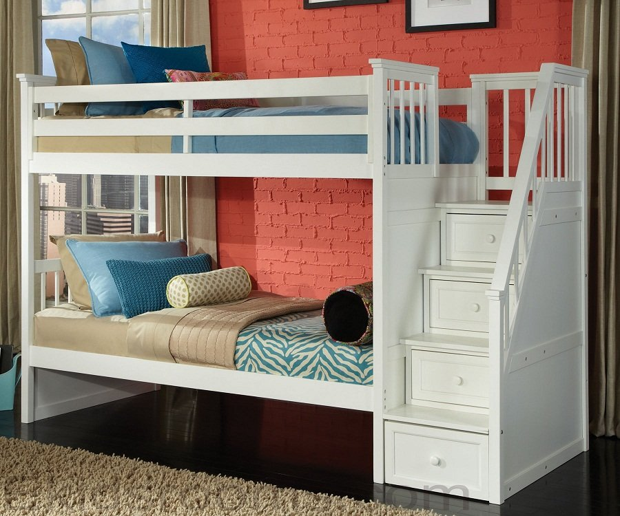Picture of: Loft Bunk Bed With Stairs Drawers Design