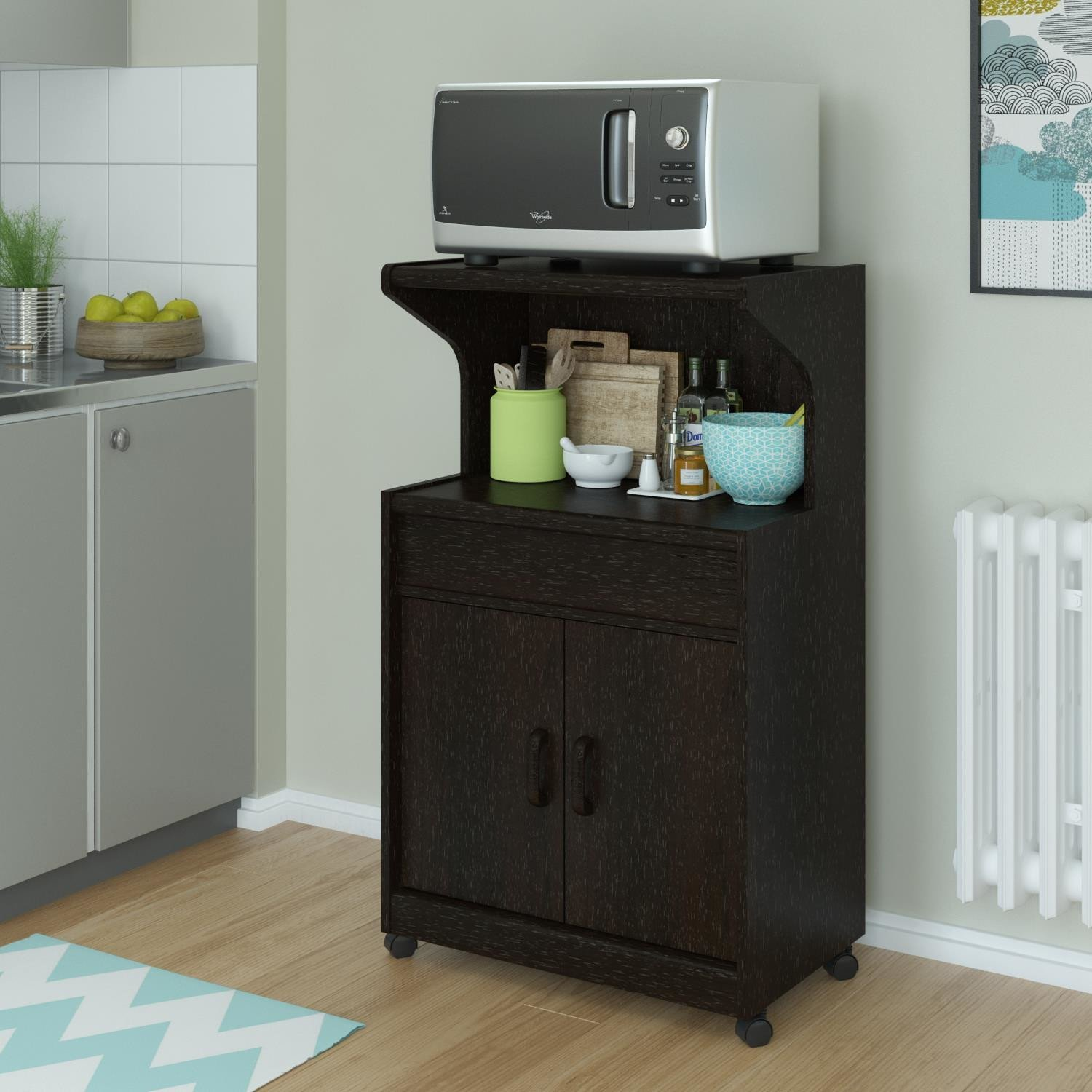 Image of: Microwave Stand with Drawer on Wheel