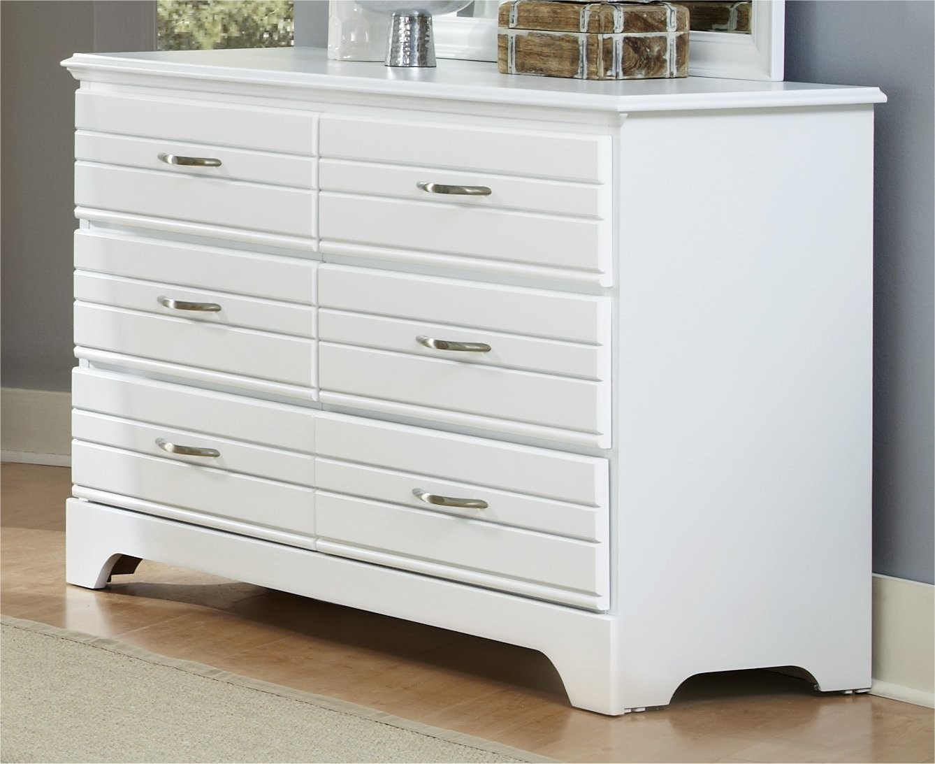 Modern 6 Drawer Dresser Solid Wood Furniture