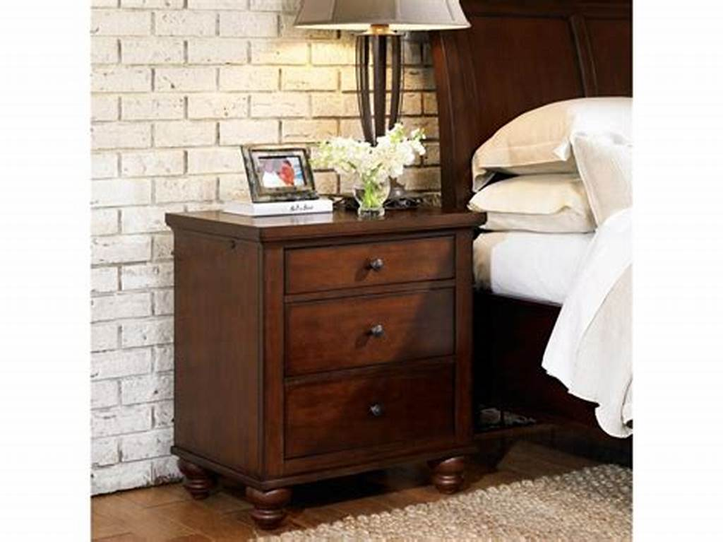 Image of: Oak Bed Side Table with Drawer