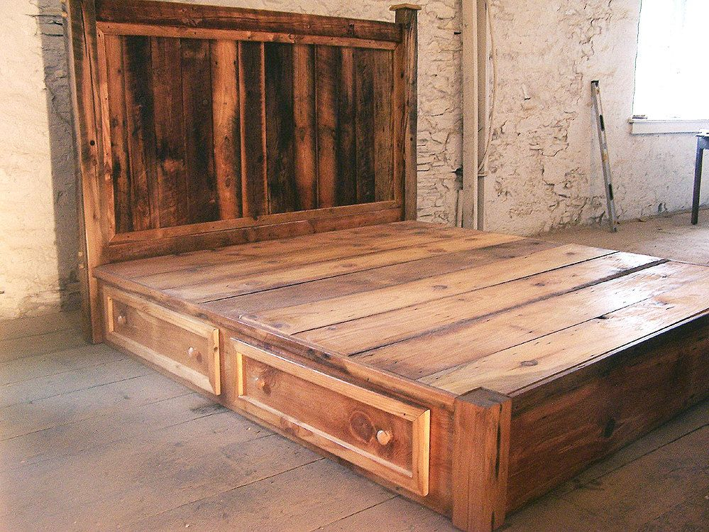 Image of: Reclaimed Rustic Pine Platform Bed Drawers