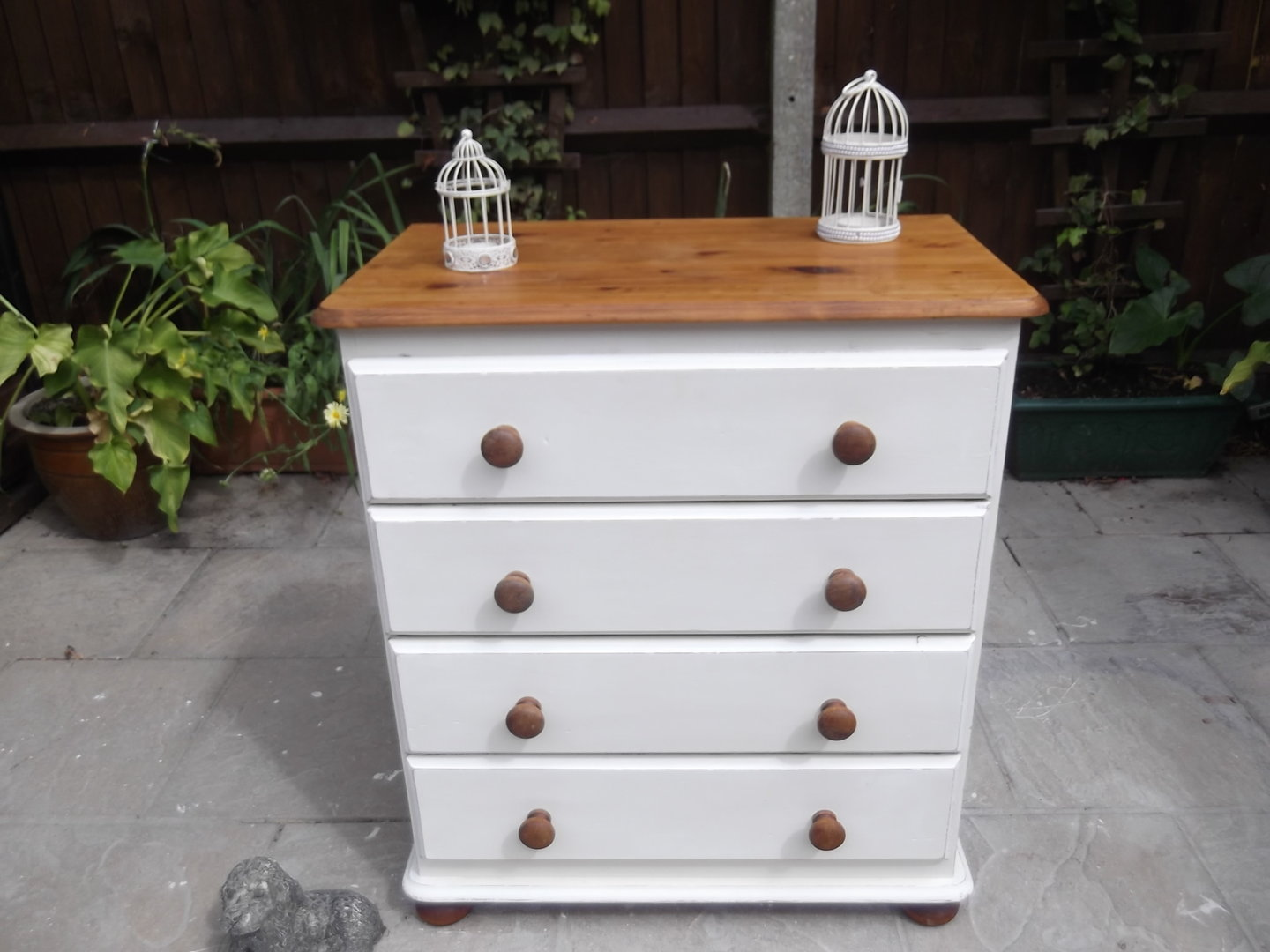 Image of: Repainted Vintage Pine Farmhouse Chest Drawers