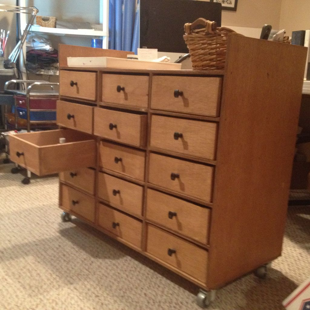 Image of: Rolling Drawer Wood