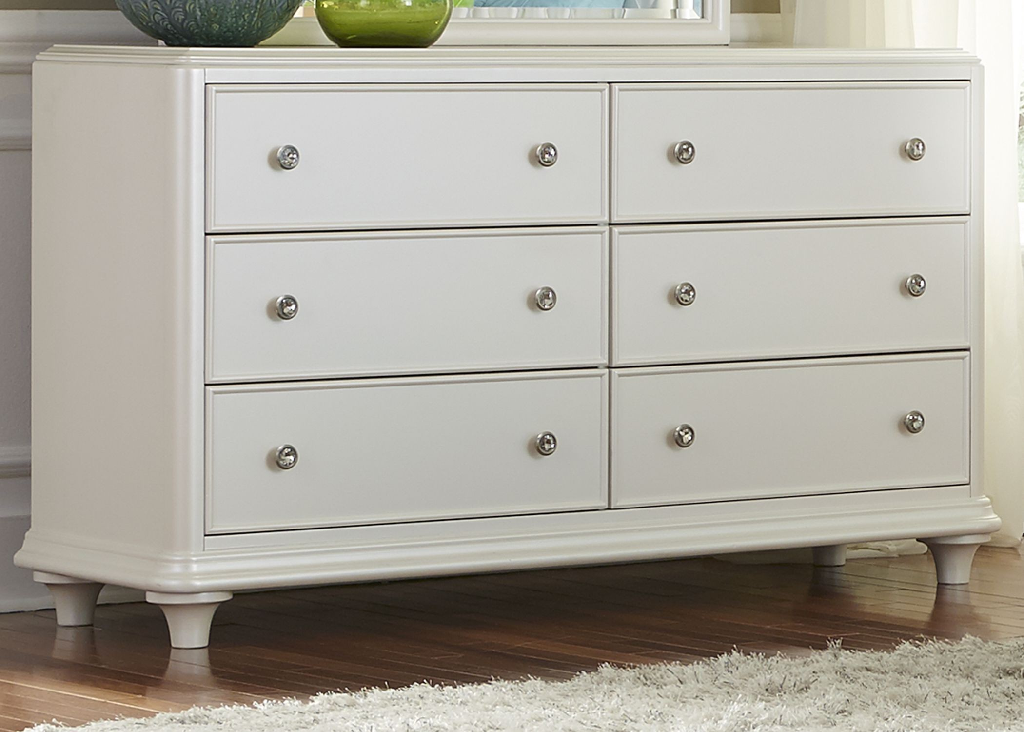 Stardust Iridescent White 6 Drawer Dresser