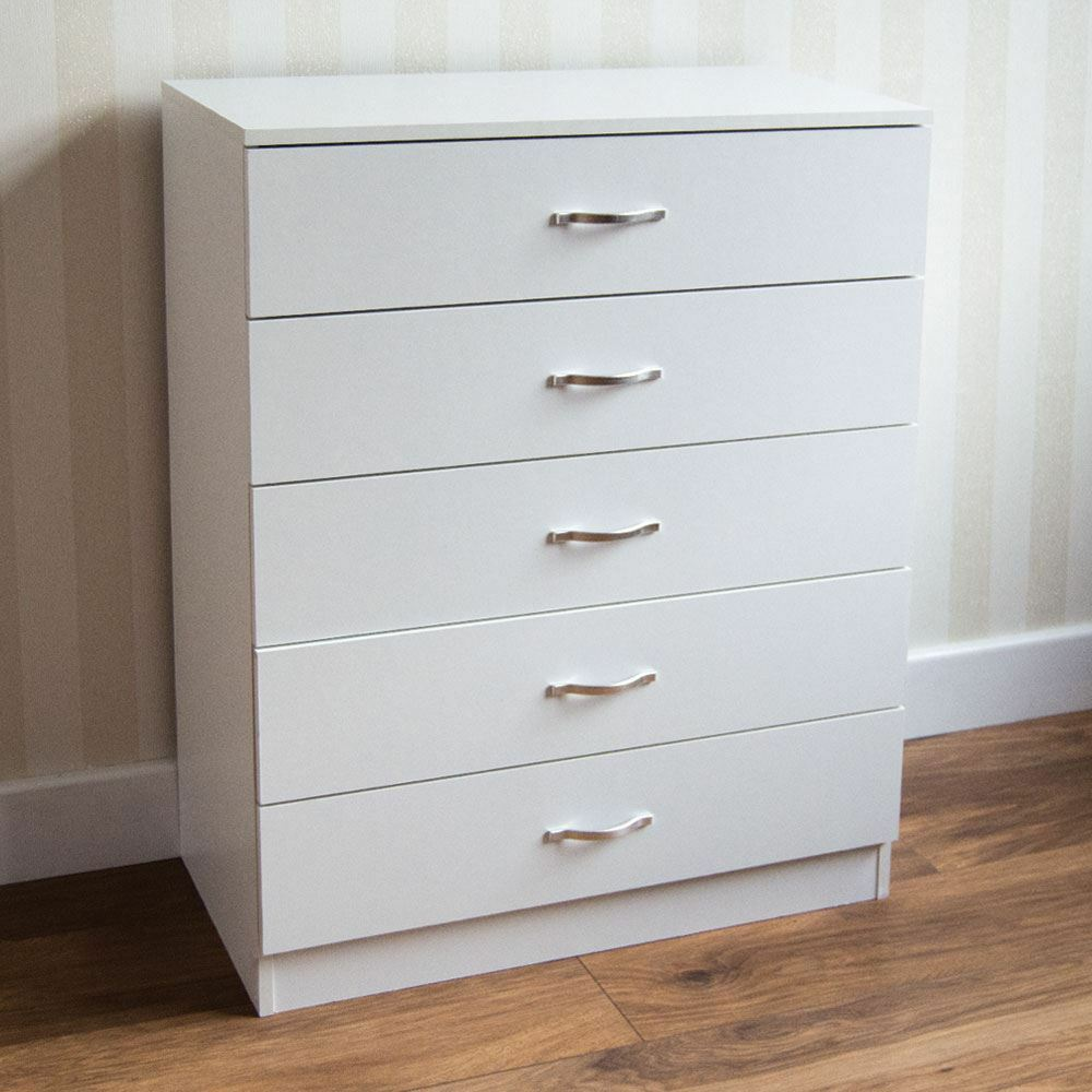 Picture of: White 5 Drawer Chest of Drawers