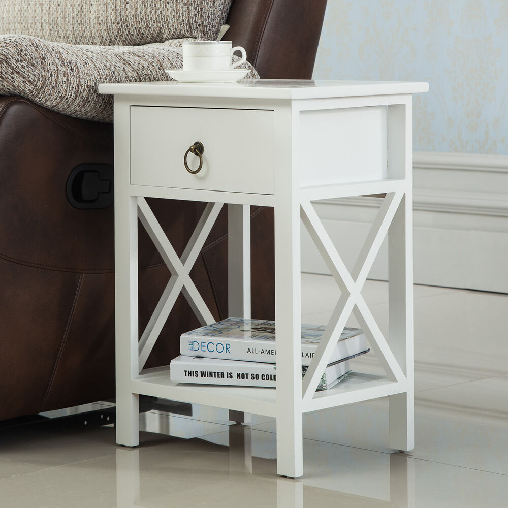 White Bed Side Table with Drawer