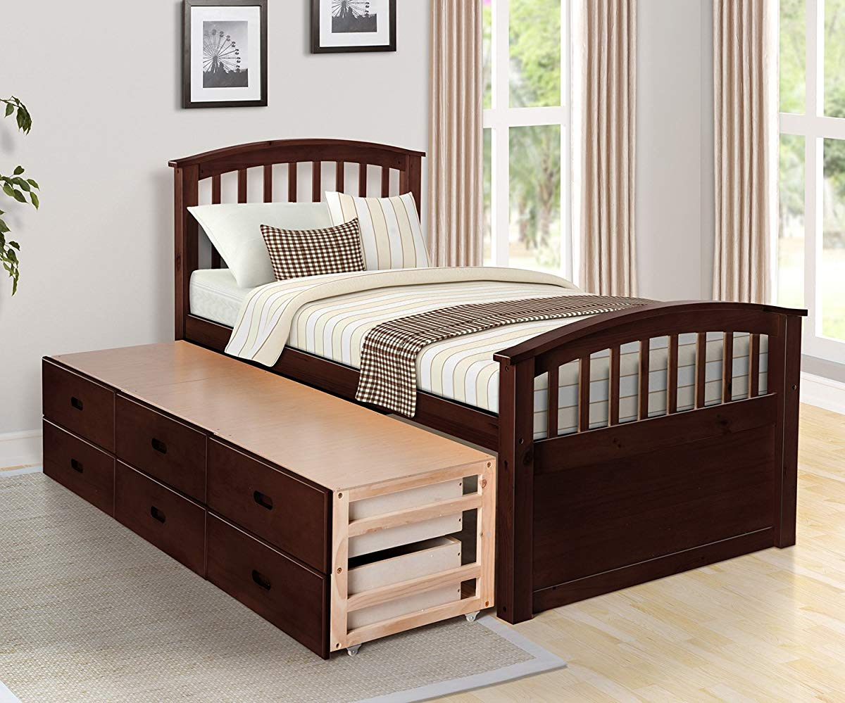 White Twin 6-Drawer Captain's Platform Storage Bed