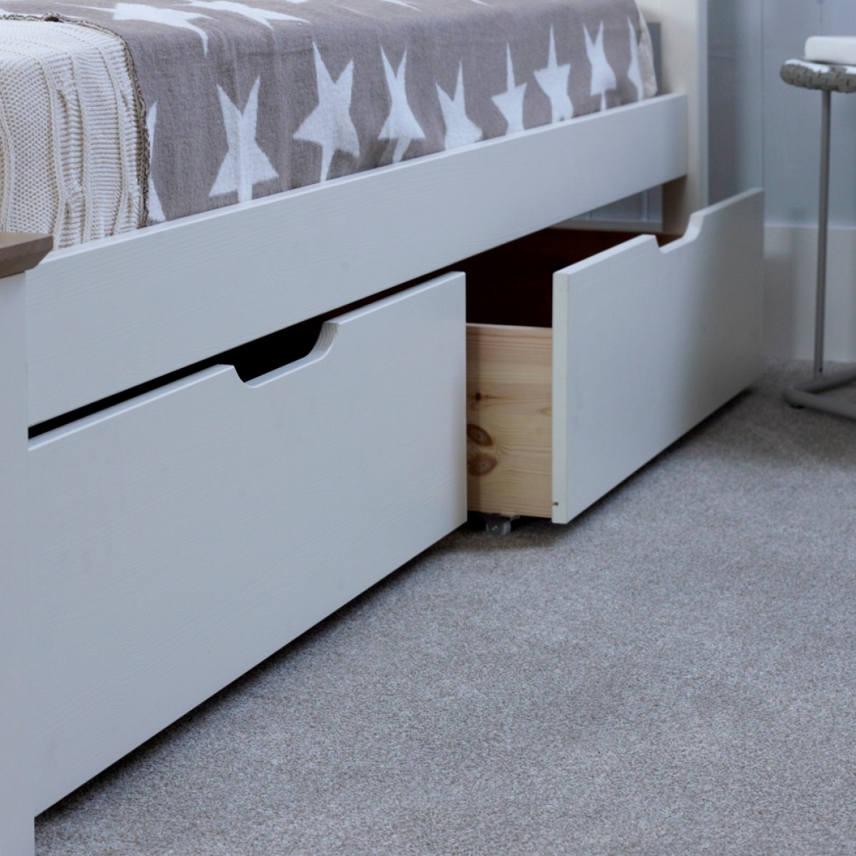 Picture of: White Under Bed Storage Drawer