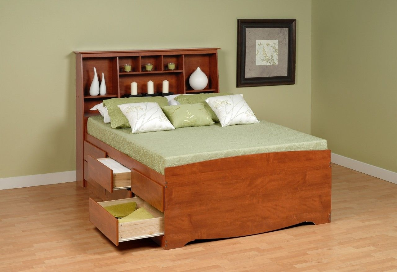Wood Drawer Storage for Bed